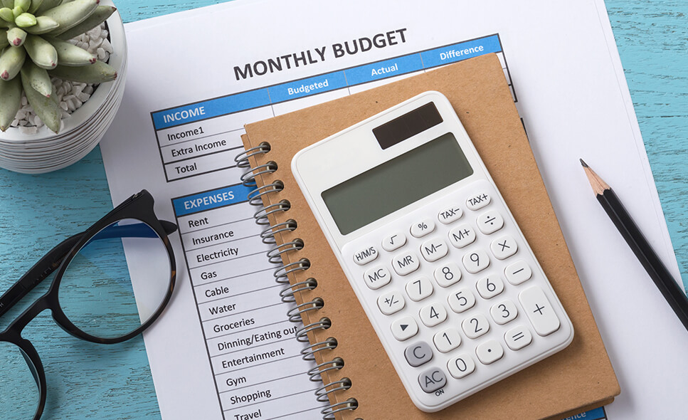 Desk with budgeting items