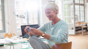 senior woman banking online