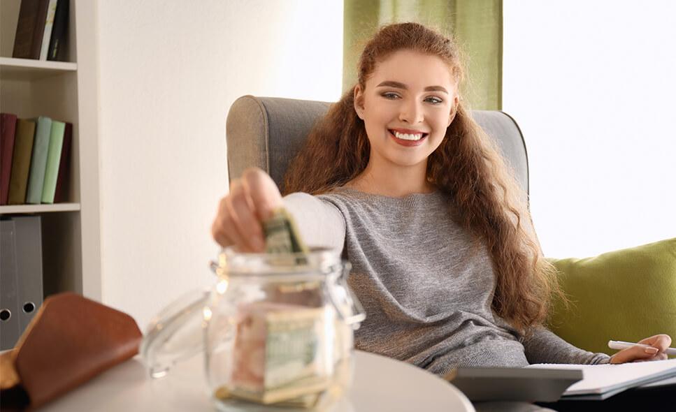 Lady saving money