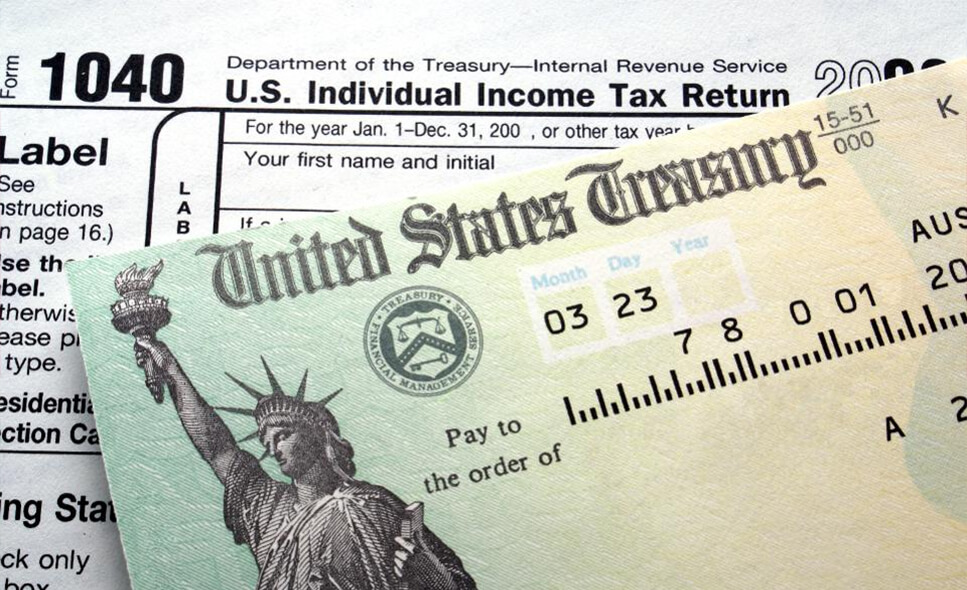 form 1040 and a check