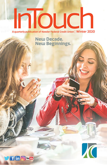 Winter Intouch 2020 cover, two young women having coffee