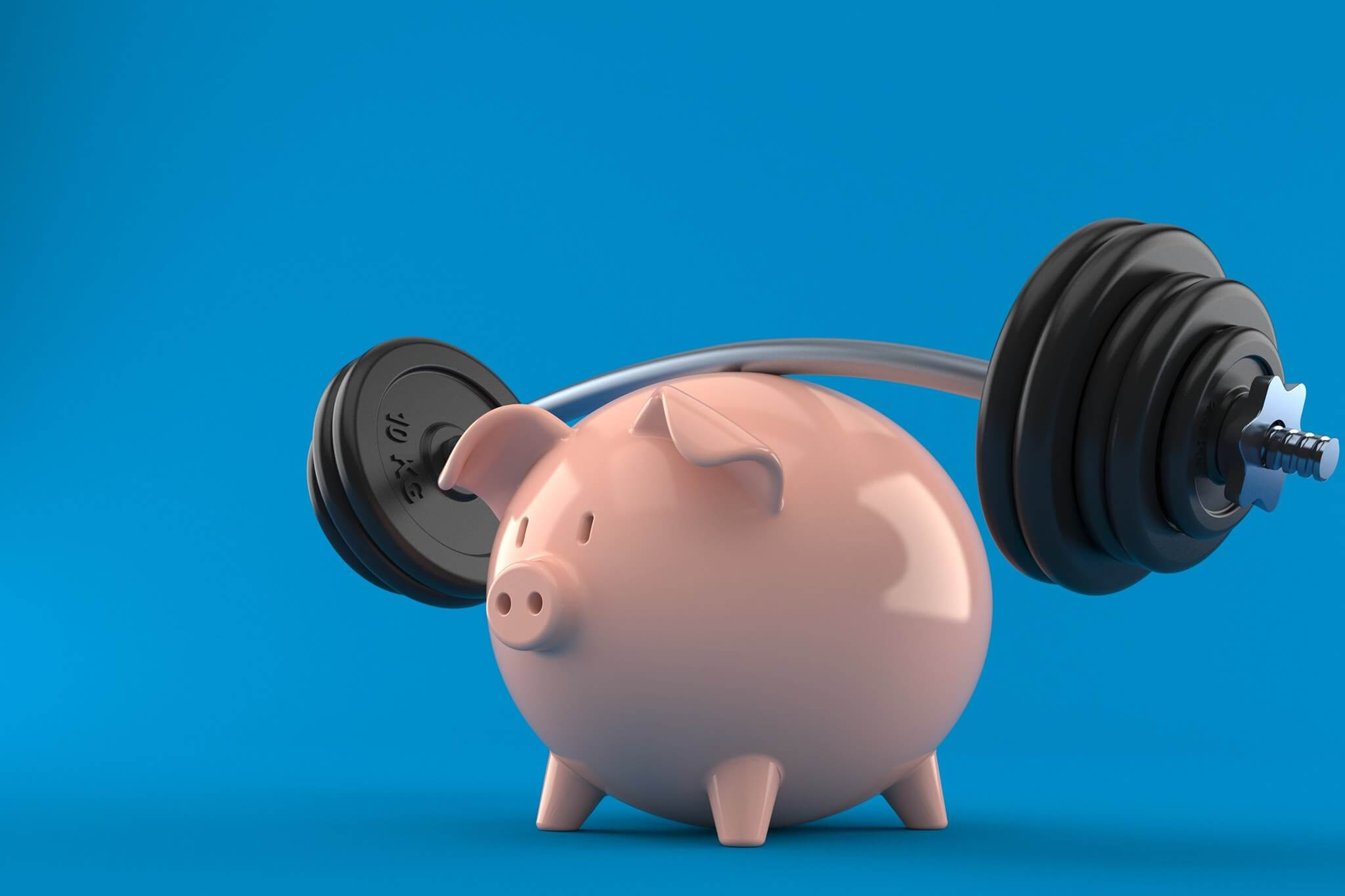 piggy bank under a barbell